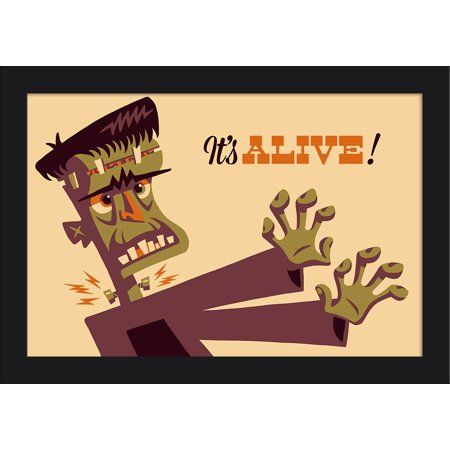 Frankenstein - Retro Halloween - Lantern Press Artwork (18x12 Giclee Art Print, Gallery Framed, Black - Halloween Art Frankenstein