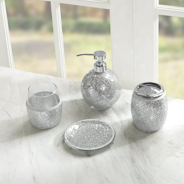 Home Essence Mosaic Four Piece Bath, Silver Bathroom Accessories Set