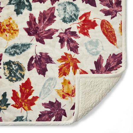 Better Homes & Gardens Sherpa Throw Blanket, 50u0022 x 60u0022, Maroon Leaves