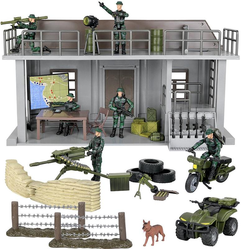 Click N' Play Military Multi Level Command Center Post 51 Piece Play Set With Accessories by Click N' Play