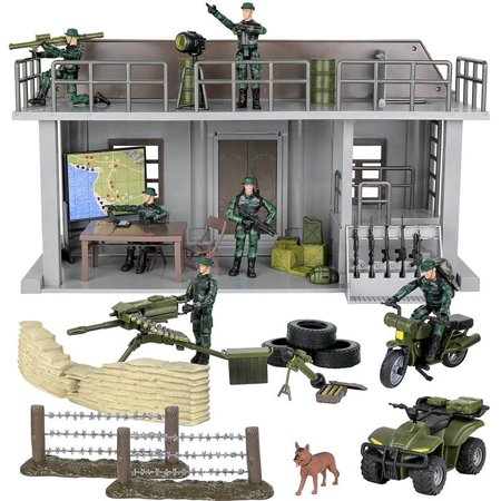 Click N' Play Military Multi Level Command Center Post 51 Piece Play Set With Accessories for $<!---->
