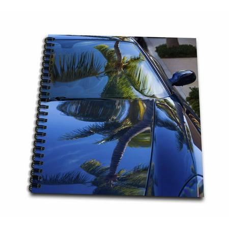 - 3dRose USA, Florida, Palm Beach, Worth Avenue, palm tree reflected in Ferrari - Mini Notepad, 4 by 4-inch