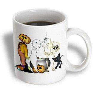 3dRose Cute Halloween Toons With Ghost Jack Skeleton And Black Cat, Ceramic Mug, 11-ounce (Halloween Plates Ceramic)
