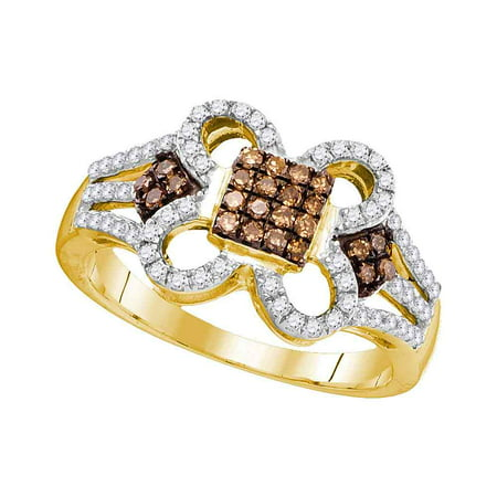 10kt Yellow Gold Womens Round Cognac-brown Colored Diamond Quatrefoil Square Cluster Ring 3/8 Cttw