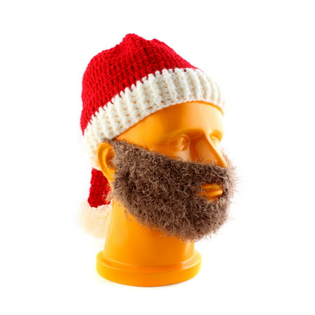 Winter Christmas Crochet Beard with Knitted Beanie Hat Santa Costumes Warm Ski Cap (Knit Santa Hat)