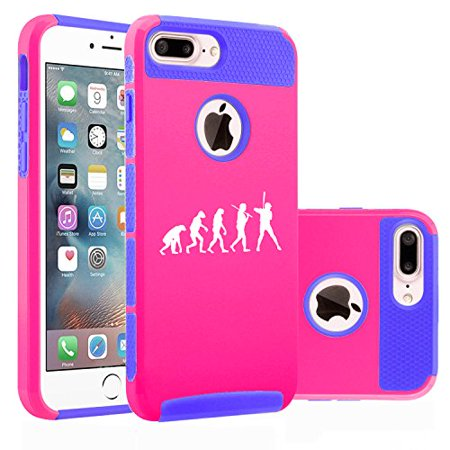 For Apple (iPhone 8 Plus) Shockproof Impact Hard Soft Case Cover Evolution Baseball (Hot Pink-Blue)