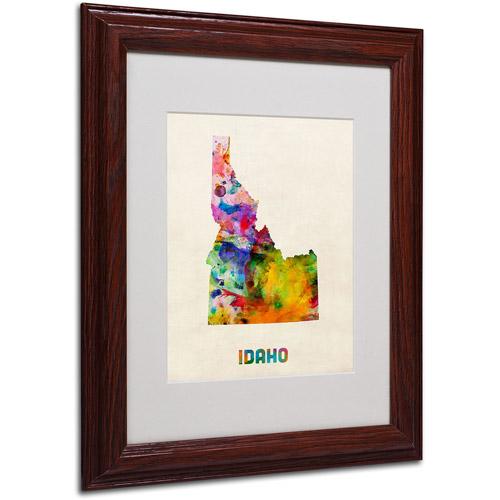 "Trademark Fine Art ""Idaho Map"" Matted Framed Art by Michael Tompsett, Wood Frame"
