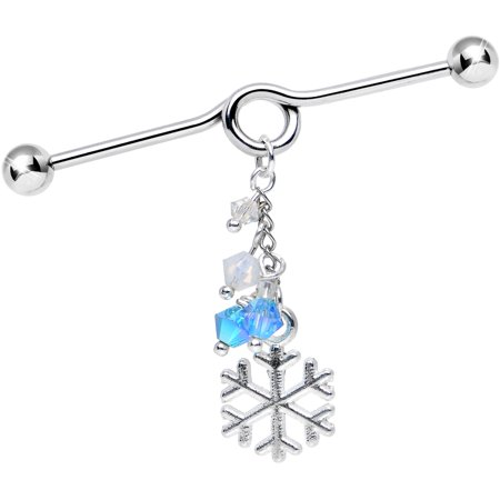 Swarovski Barbell (Body Candy Handcrafted Snowflake Dangle Industrial Barbell Created with Swarovski Crystals)