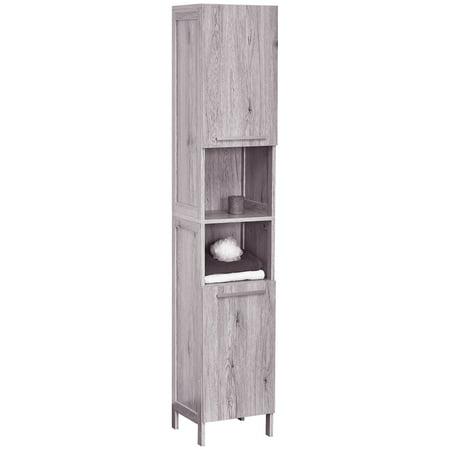 Bath Floor Cabinet Linen Tower 2 Doors- 2 Shelves Oslo Washed Gray Oak ()