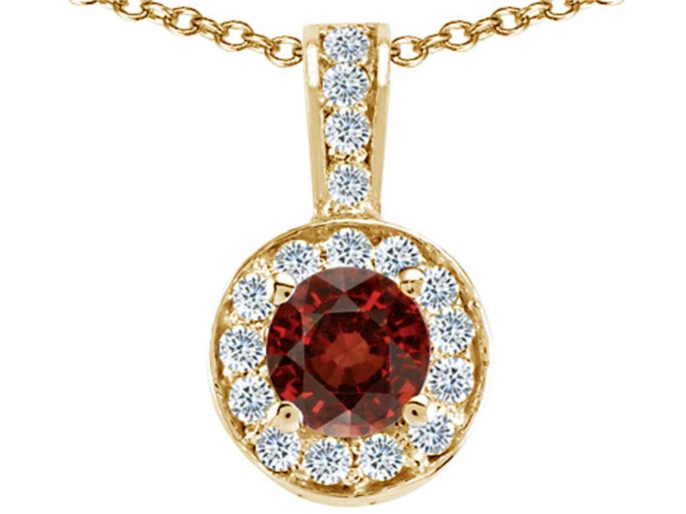 Tommaso Design Round Genuine Garnet Pendant Necklace by
