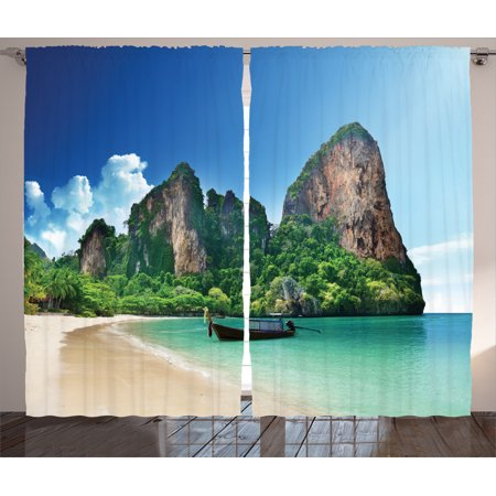 Tropical Decor Curtains 2 Panels Set, Railay Beach In Krabi Thailand Small Boat Crystal Water Rock Cliff Tropical Landscape, Living Room Bedroom Accessories, Gift Ideas, By