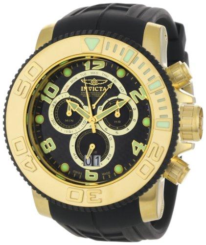 Invicta Men's 0415 Pro Diver Collection Sea Hunter Chronograph Black Polyurethane Watch