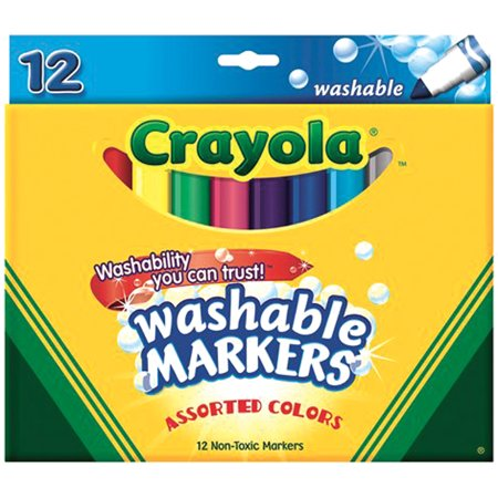 Crayola Broad Line Washable Markers Assorted Colors 12 Pkg