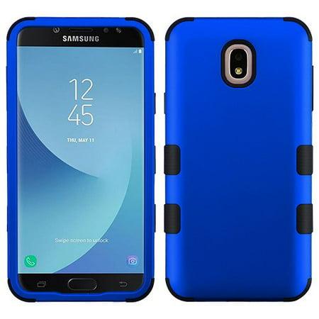 Samsung Galaxy J7 (2018), J737, J7 V 2nd Gen, J7 Refine Phone Case Tuff Hybrid Shockproof Impact Rubber Dual Layer Hard Soft Protective Hard Case Cover Titanium Blue