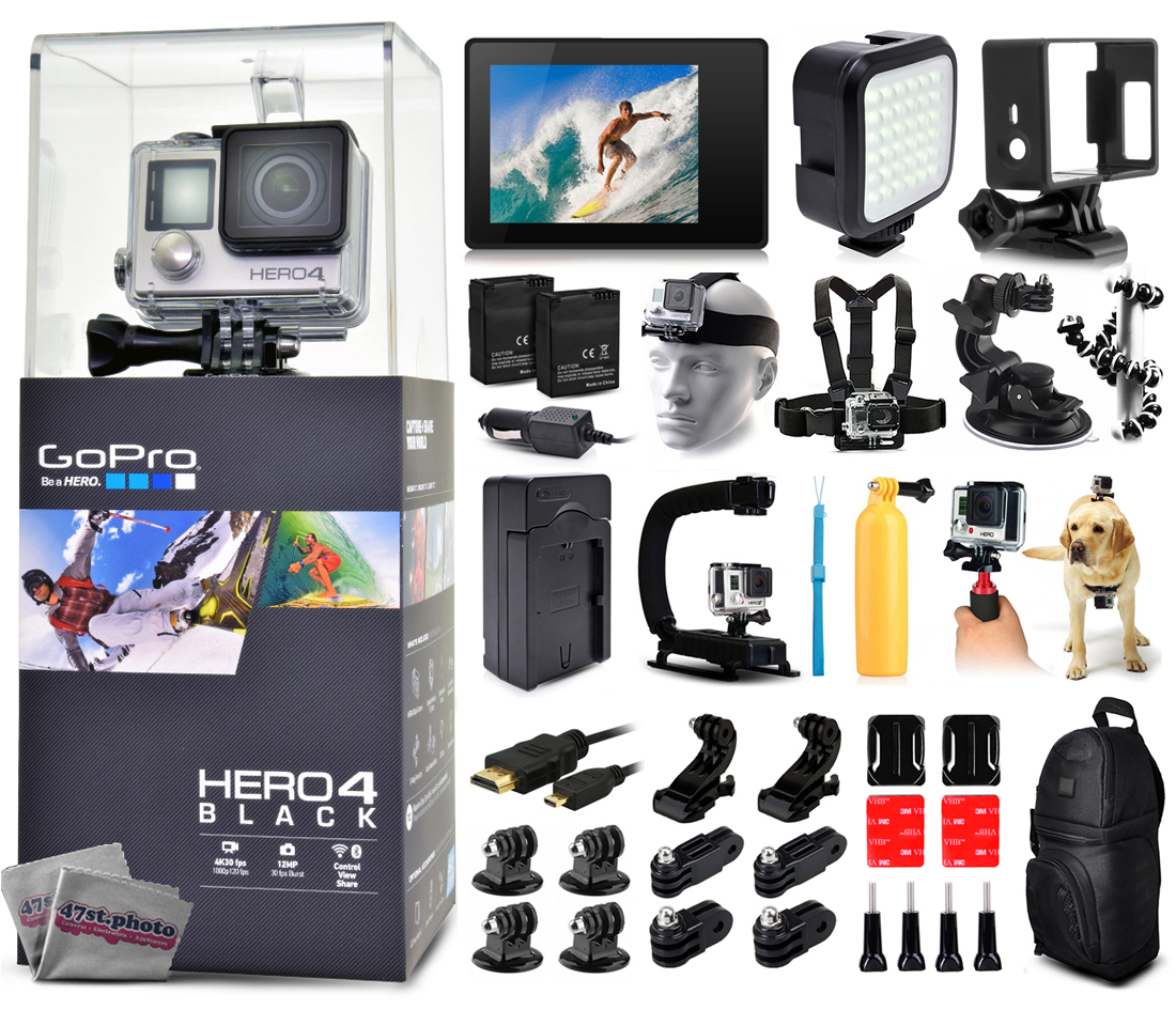 Buy GoPro Hero 4 HERO4 Black Edition CHDHX-401 with LCD Display + LED Light + Skeleton Housing + Head Strap + Chest Strap +... by GoPro