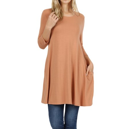 Women Round Neck Long or 3/4 Sleeve Flattering Comfy Swing Tunic Loose Fit Flowy Top Swing Top Tee