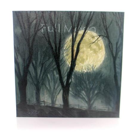 Halloween FULL MOON Wood Giclee Canvas Print - Lindsay Woods Halloween