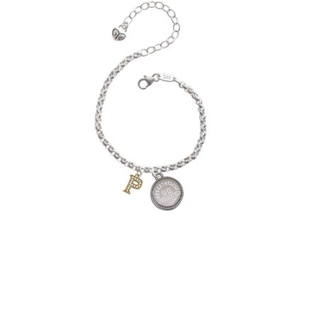 Gold Tone Small Crystal Initial   P   Nevertheless She Persisted Engraved Bracelet