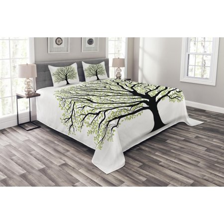 Tree of Life Bedspread Set, Big Old Lush Tree with Lot of Leaves and Branches Nature Growth Eco Art, Decorative Quilted Coverlet Set with Pillow Shams Included, Black White Green, by Ambesonne