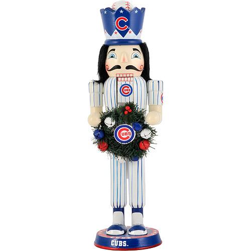 "MLB 14"" Christmas Wreath Nutcracker, Chicago Cubs"