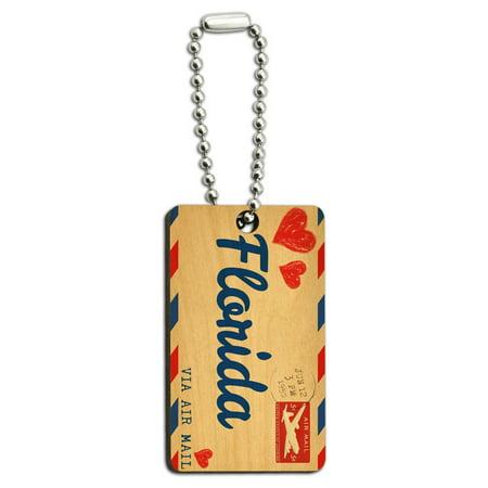 Marathon Florida Keys - Air Mail Postcard Love for Florida Wood Rectangle Key Chain