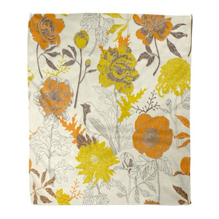 ASHLEIGH Flannel Throw Blanket Blooms Yellow Vintage Pretty Floral Pattern Bird Cut Flower Soft for Bed Sofa and Couch 50x60 Inches