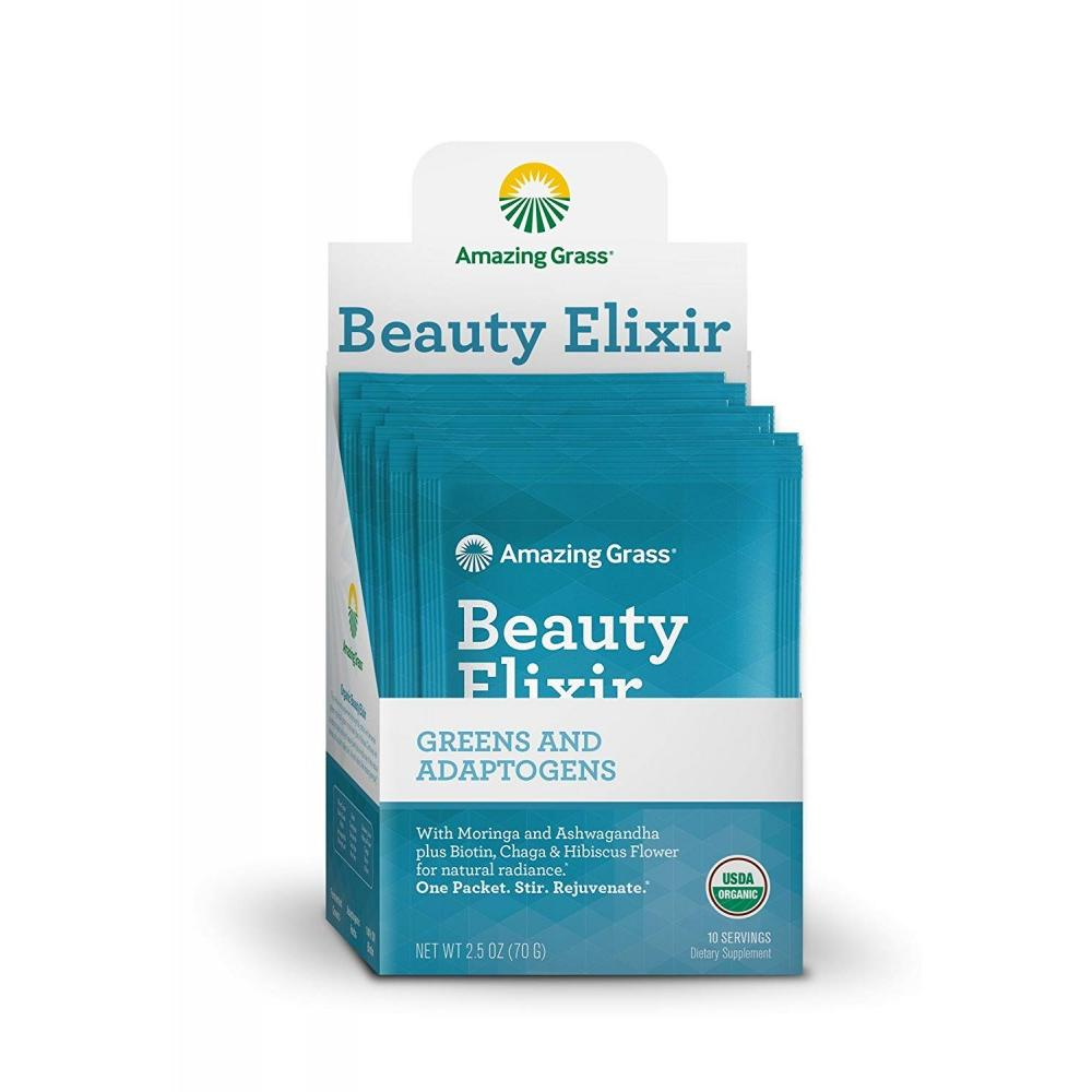 Amazing Grass Beauty Elixir Powder with Greens & Adaptogens, 10 Packets