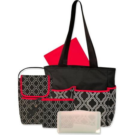 Baby Essentials Geometric 3 Piece Diaper Bag Set With Bonus Bottle