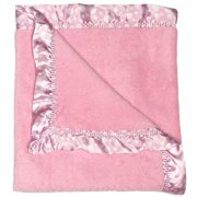 """Raindrops Baby Girls Flurr Receiving Blanket, Pink With White Dots, 28"""" X 36"""""""