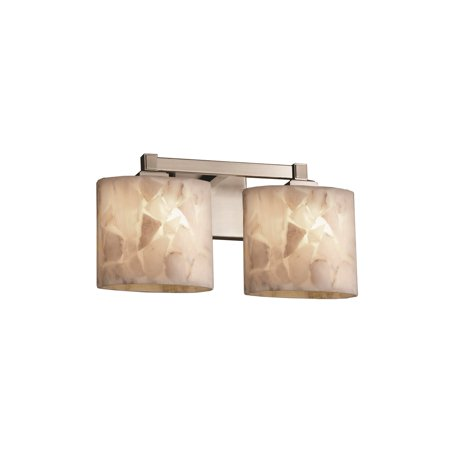 - Justice Designs Alabaster Rocks Regency 2-LT Bath Bar - Brushed Nickel - ALR-8432-30-NCKL