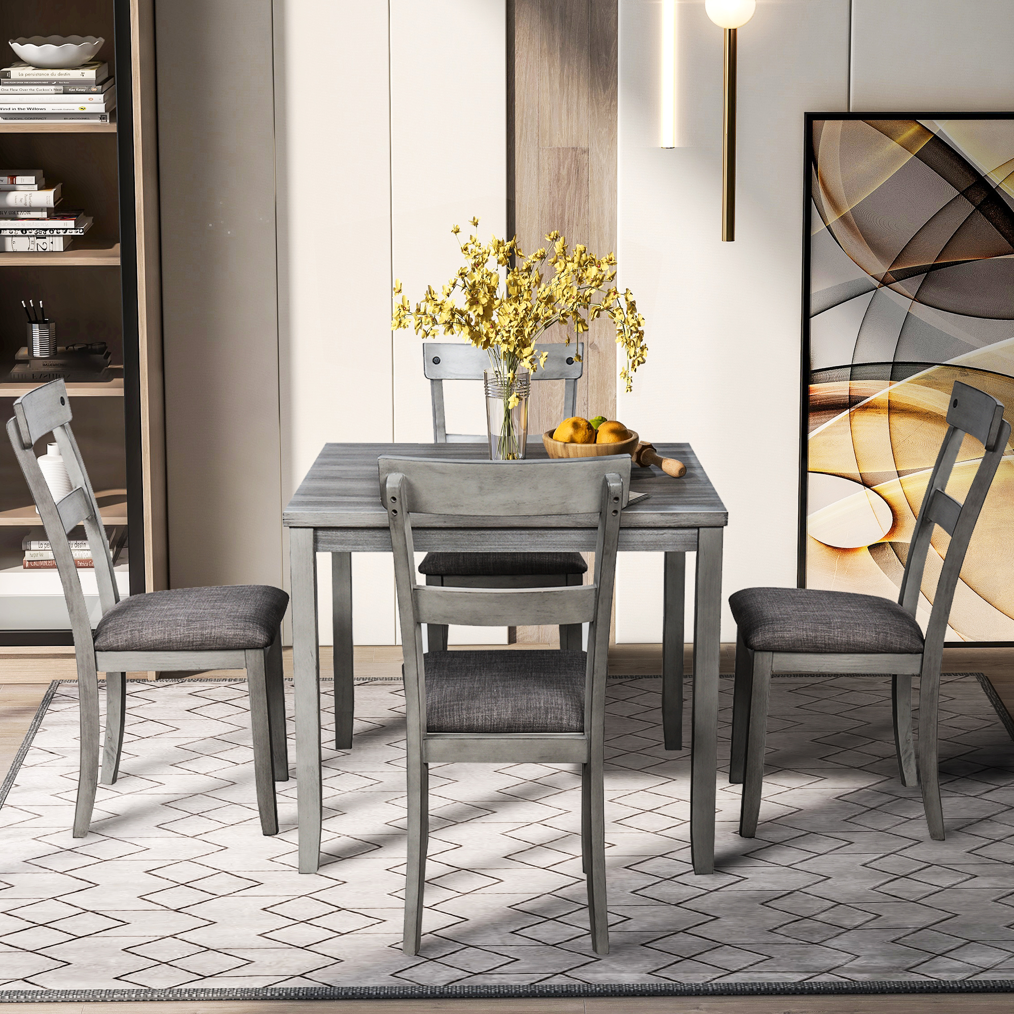 Kitchen Table with Chair Set for 4, BTMWAY Square ...