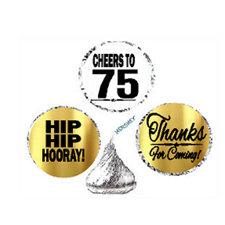 75th Birthday / Anniversary Cheers Hooray Thanks For Coming 324pk Stickers / Labels for Chocolate Drop Hersheys Kisses, Party Favors Decorations (75th Birthday Party Supplies)