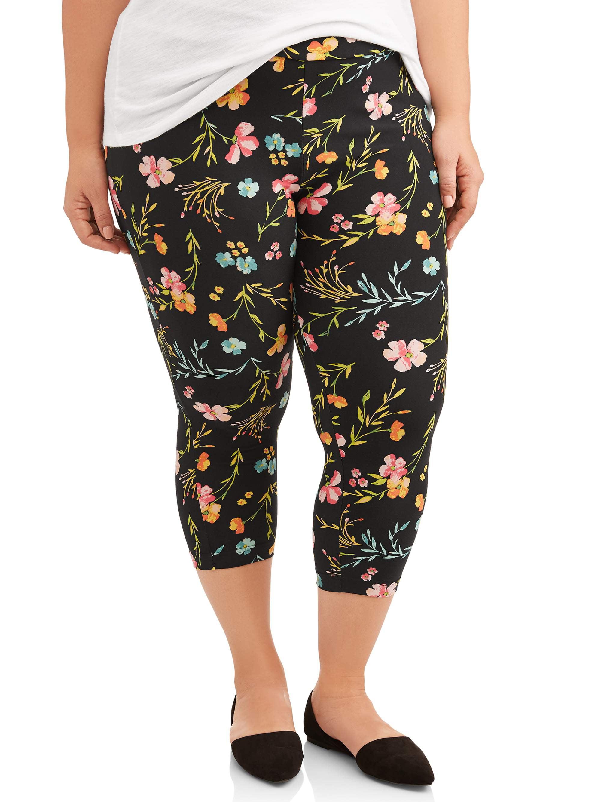 5757c0fa2d30e3 Terra & Sky - Women's Plus Size Super Soft Printed Capri Legging ...