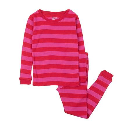 bcccbf5cf2ed3 Leveret - Leveret Striped Kids & Toddler Girls Pajamas 2 Piece Pjs Set 100%  Cotton (Size 12-18 Months, Red & Pink) - Walmart.com