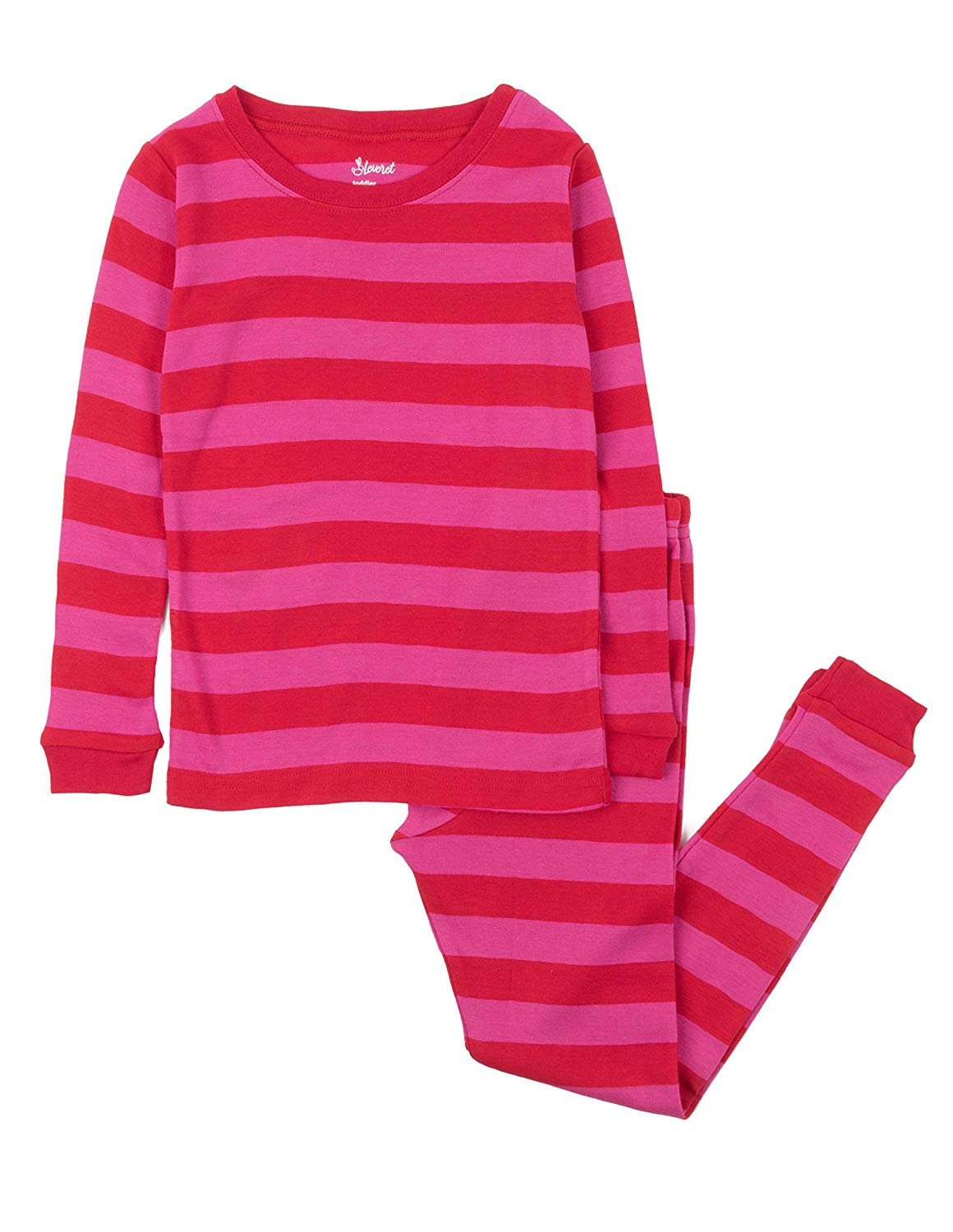 Leveret Striped Kids & Toddler Girls Pajamas 2 Piece Pjs Set 100% Cotton (Size 12-18 Months, Red & Pink)