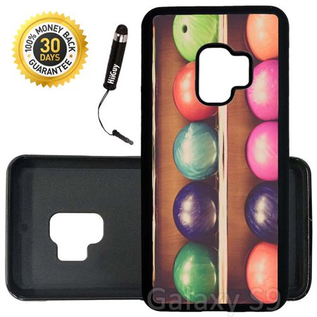 Custom Galaxy S9 Case (Bowling Balls) Edge-to-Edge Rubber Black Cover Ultra Slim | Lightweight | Includes Stylus Pen by Innosub
