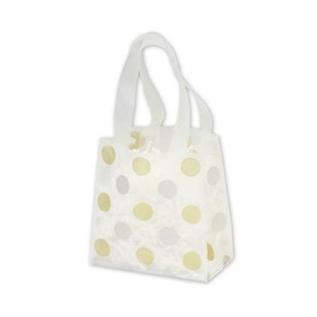 Bags   Bows By Deluxe 268 060306 157C Gold   Silver Dots Clear Frosted Flex Loop Shoppers   Case Of 100