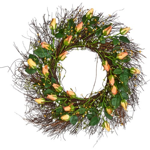 Worth Imports Rose and Berries on Natural Twig 24'' Wreath