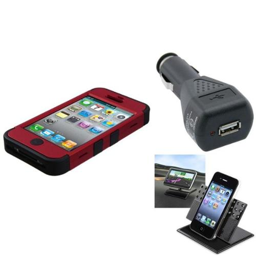 Insten Car Charger+Holder+For Apple iPhone 4/4S Black/Red Armor Hybrid TUFF/Dual Layer Case