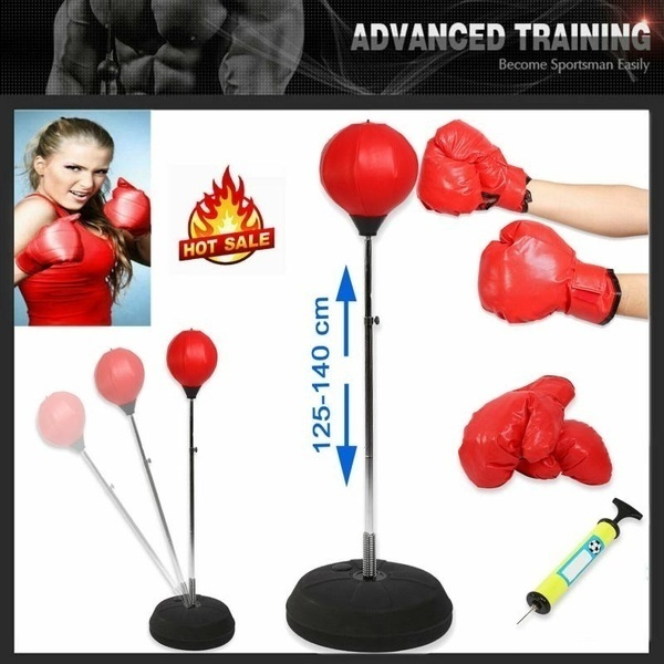 6 Piece Boxing Speed Bag Set Platform Swivel Gloves Wraps Drum Box NEW