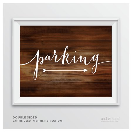 Parking Rustic Wood Wedding Party Directional Signs, Double-Sided (Wedding Directional Signs)