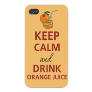 Apple Iphone Custom Case 4 4s White Plastic Snap on - Keep Calm and Drink Orange Juice Short Glass