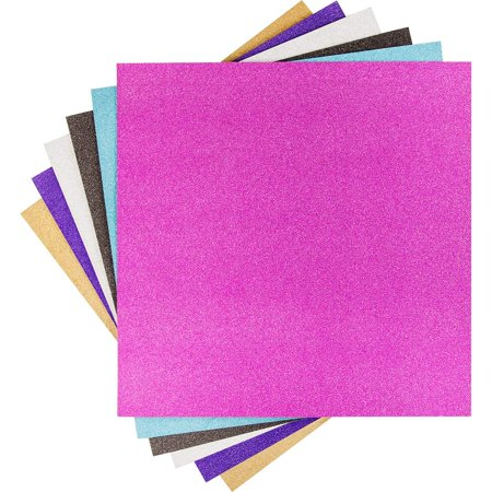 Glitter Vinyl, Sampler, 6 sheets 12 in. X 12 in. Glitter vinyl in gold, silver, Purple, hot pink, teal, and Black By Cricut ()