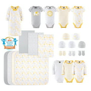 The Peanutshell Newborn Layette Gift Set for Baby Boys or Girls, Yellow Safari, 23 Essential Pieces, 0-3 Months