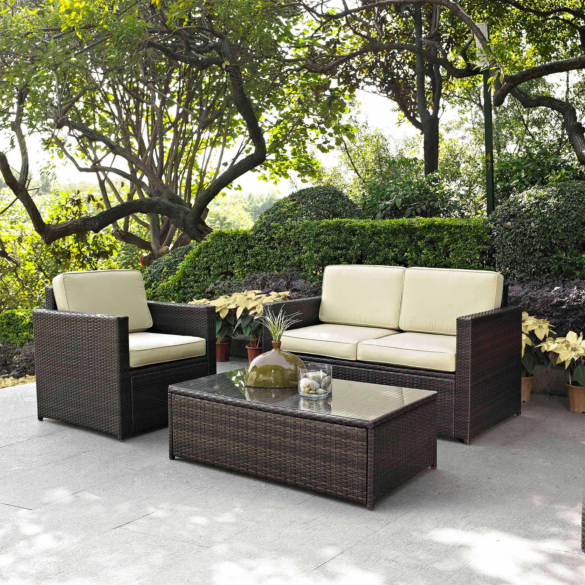 Crosley Furniture Palm Harbor 3 Piece Outdoor Wicker Seating Set