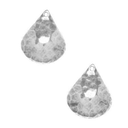 Silver Plated Stampings Dapt Hammered Fat Drops 18mm (2)