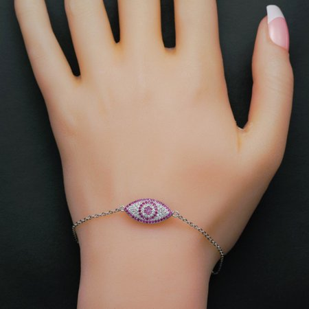 Micro Pave Evil Eye .50 Carat Round Cut Diamond and Ruby Chain Bracelet in 18k Gold Over Silver