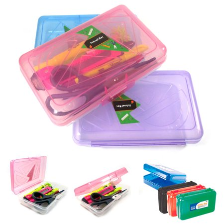3 School Pencil Boxes Office Supplies Case Pen Art Craft Organizer Plastic Box