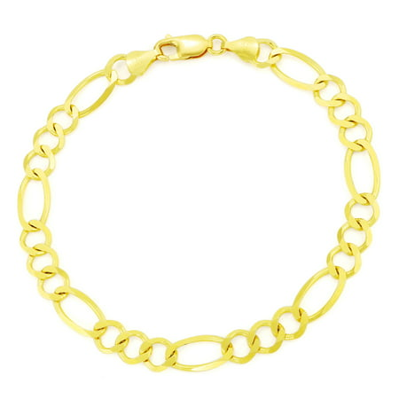 "14k Yellow Gold 7mm Solid Italian Figaro Link Chain Bracelet, 7"" 8"" 9"""