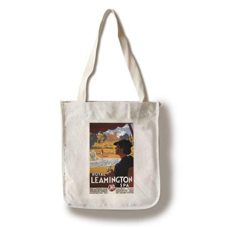 Spa Tote (Leamington, England - Royal Spa, Woman Drinking Water Rail - Vintage Travel Poster (100% Cotton Tote Bag - Reusable) )